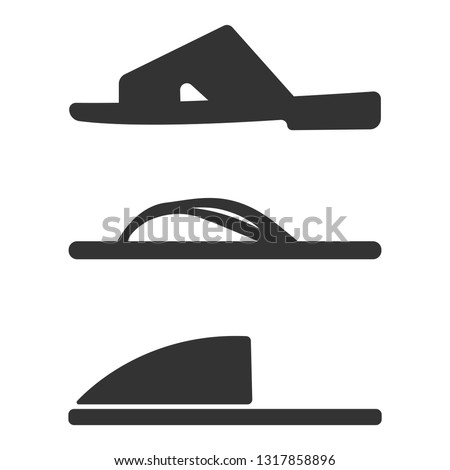 b85d63214 Slippers icon set. Simple set of slippers icons for web design isolated on white  background. Vector fashion casual sandals Casual Sandals Vector fashion ...