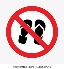 Slippers prohibition sign. Vector illustration