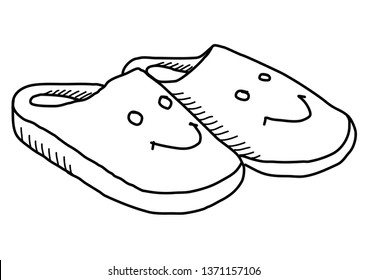 Slippers with smiley. Doodle vector
