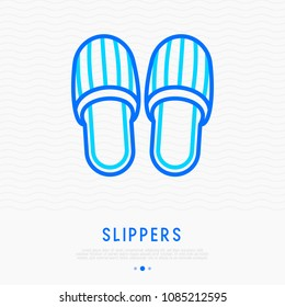 Slippers thin line icon. Modern vector illustration.