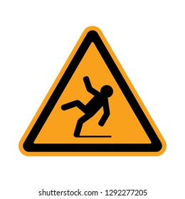 Slippery Caution Icon Vector Illustration Sign & Symbol.