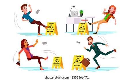 Slippery Concept Vector. Wet Slippery Floor. Slip People And Fall On. Illustration