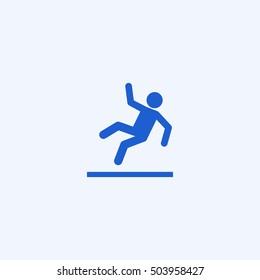 slippery floor icon, isolated, white background