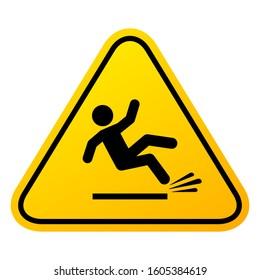 Slippery floor sign, vector illustration isolated on white background. Slip danger icon.