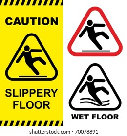 Slippery floor surface warning sign. Vector illustration. No gradients used.