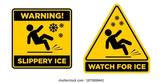 Slippery ice sign. Slip danger icon. Vector sign on transparent background
