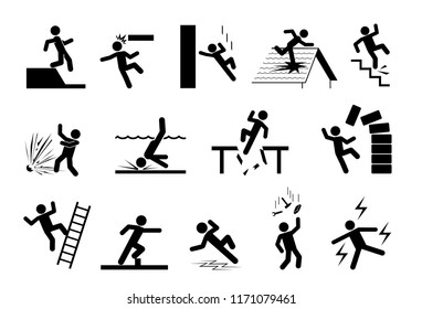Slippery icons. Set of safety and caution signs. Collection of warning, dangerand alerts pictogram.
