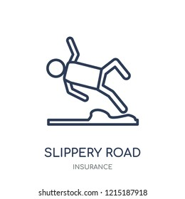 Slippery road icon. Slippery road linear symbol design from Insurance collection.