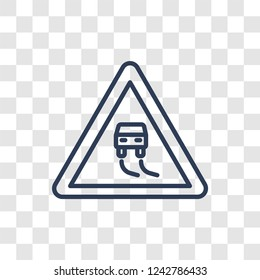 Slippery road icon. Trendy linear Slippery road logo concept on transparent background from Insurance collection