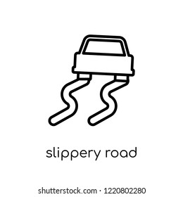 Slippery road icon. Trendy modern flat linear vector Slippery road icon on white background from thin line Insurance collection, editable outline stroke vector illustration