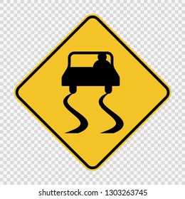 Slippery road sign sign on transparent background