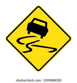 slippery road sign, traffic sign in Australia