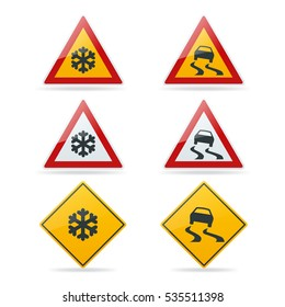 Slippery road. Traffic signs vector