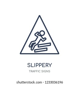 Slippery sign icon. Slippery sign linear symbol design from Traffic signs collection. Simple outline element vector illustration on white background