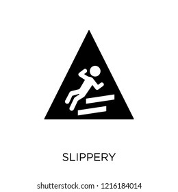 Slippery sign icon. Slippery sign symbol design from Traffic signs collection. Simple element vector illustration on white background.