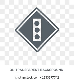 Slippery sign icon. Trendy flat vector Slippery sign icon on transparent background from traffic sign collection.