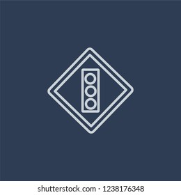 Slippery sign icon. Trendy flat vector line Slippery sign icon on dark blue background from traffic sign collection.