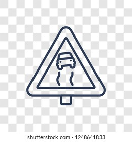 Slippery sign icon. Trendy linear Slippery sign logo concept on transparent background from Traffic Signs collection