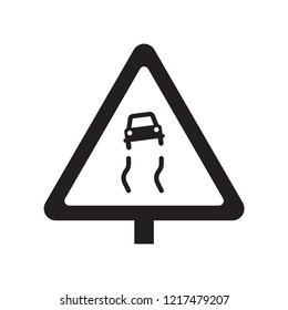 Slippery sign icon. Trendy Slippery sign logo concept on white background from Traffic Signs collection. Suitable for use on web apps, mobile apps and print media.