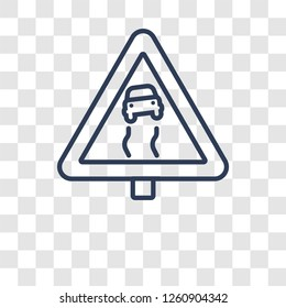 Slippery sign icon. Trendy Slippery sign logo concept on transparent background from Traffic Signs collection