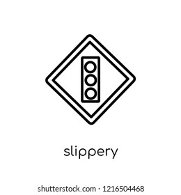 Slippery sign icon. Trendy modern flat linear vector Slippery sign icon on white background from thin line traffic sign collection, editable outline stroke vector illustration