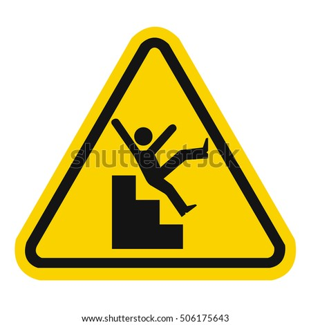 slippery stairs warning stock vector royalty free 506175643
