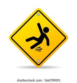 Slippery wet floor warning vector sign on white background. Falling danger vector web sign.