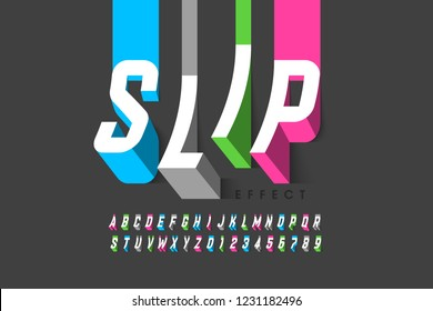 Slipping effect font, alphabet letters and numbers vector illustration