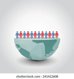 slit globe with people, illustration