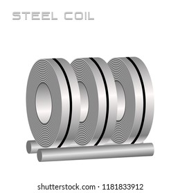 Slitting rolled steel coil, steel, strap storage in factory warehouse, Metal iron sheet industrial. Isolated vector