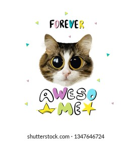 slogan with cat head illustration