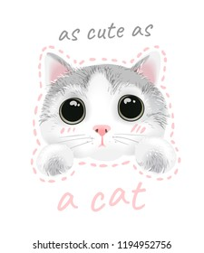 slogan with cute cat illustration