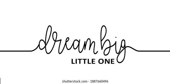 Slogan Dream big little one. World sleep day. Flat vector dreaming signs. Relaxing and chill. Dreams, baby boy or baby girl.