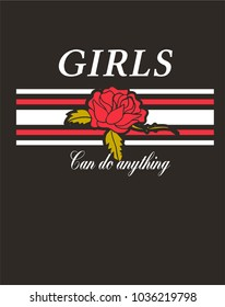slogan elegant design. rose and stripes. girl power shirt print vintage style.
