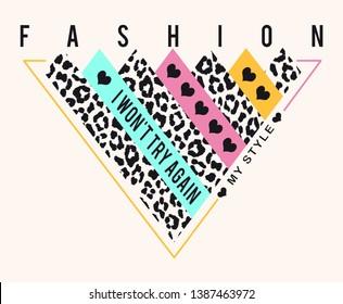 slogan fashion leopard print art
