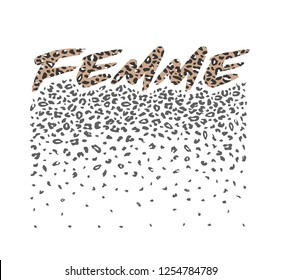 Slogan graphic femme with leopard skin for t-shirt print poster