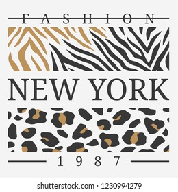 Slogan graphic with leopard and zebra skin. Print graphic for T-shirt. vector