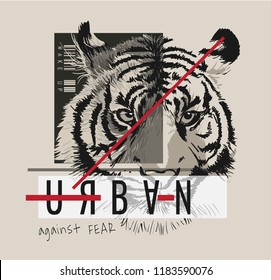 slogan graphic with tiger illustration