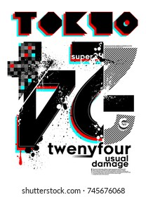 slogan graphics for t-shirts and your great designs,tokyo twenty four, also you can use as wallpaper