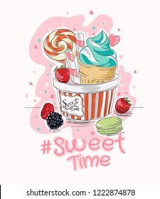slogan with ice cream and candy illustration