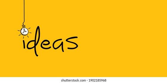 Slogan ideas. Comic brain electric lamp idea doodle. FAQ, business loading concept. Fun flat vector light bulb ideas icon or sign ideas. Brilliant lightbulb. Positive, motivation brainstorm quote.