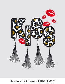 slogan kiss on leopard or lips