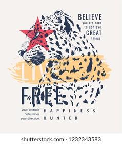 slogan with leopard graphic illustration