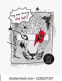 slogan with leopard head sketch illustration