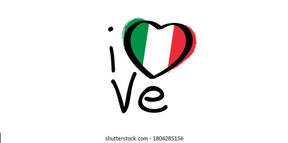 Slogan i love italy with with the Colors of italy flag. Italian slogans. Love, heart romance icons. Funny vector best quotes signs for banner or card. Happy motivation and inspiration message concept.