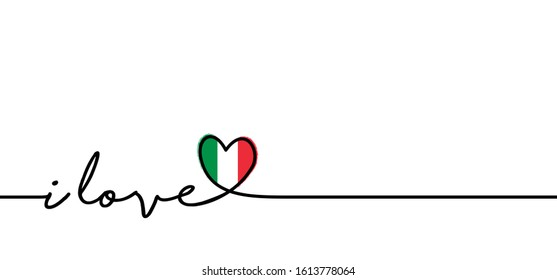 Slogan i love you Italy with Italia flag. Love heart month or happy singles day. Travel hollyday, vacantion banner. Fun vector pizza party icon sign. italiy logo symbol