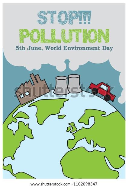Slogan Name World Environment Day Campaign Stock Vector (Royalty
