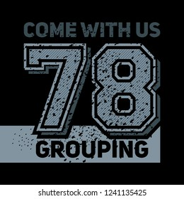 Slogan with numbers print design, t shirt vector tee grapic design. On black background.