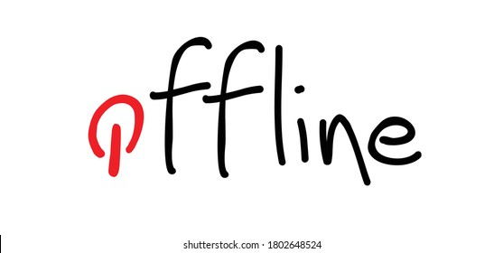 Slogan i'm offline with on off switch, unplugging. Family unplug break time zone. Social media. Disconnected or no wifi signal icons. unplugged or unplug area signs. Phrase line pattern.