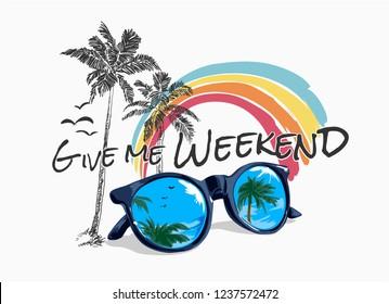 slogan with palm rainbow and sunglasses illustration